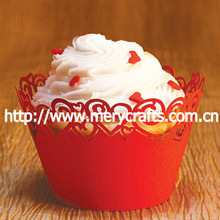 2014 novelty! Pearlized Red Cupcake wrappers for wedding accessory with custom logo