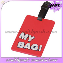 2014 Durable prevent luggage missing pvc luggage hang tag/travel bright colored luggage tags/personalized luggage tags
