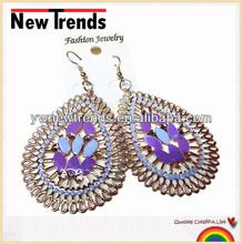 2014 stylish drop metal flower epoxy earring jewelry factory hot sale