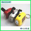 rechargeable dynamo hand crank led flashlights solar led keychain