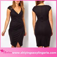 Deep V sexi sex bodycon black xxxl dress for fat women
