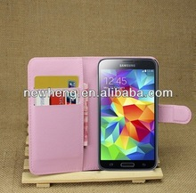 wholesale red lichi flip leather case for samsung galaxy s5