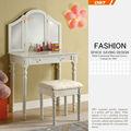 Cinese a buon mercato mobili/disegni vanity/mdf tavola di legno con specchio e sgabello