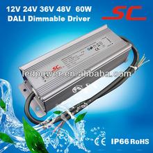 12V 24V 36V 48V 60W DALI led dimming constant voltage power supply, perfect DALI led power supply