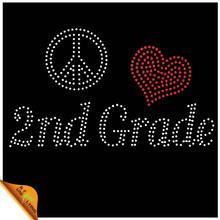 Peace Love 2nd Grade Wholesale Iron On Rhinestone Transfers