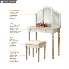 luxury mirror furniture girls modern vanity dresser with drawers