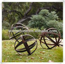Wonderful Landscape Decoration Hollow Ball Corten Steel Statue