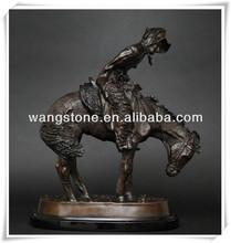 Antigo cavalo e homem decorativa estátua de bronze