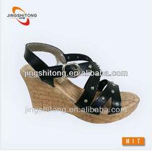 comfortable wedge heel black new model women sandals