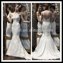 A Line Strapless Sheath Appliqued Beaded Organza Mermaid Floor Length Wedding Dress Made in China
