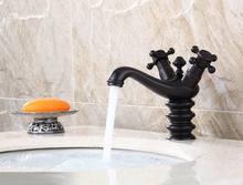 Antique Wash Basin Brass Tap Black Oil Bronze Bathroom Mixer Model