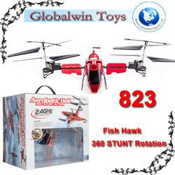 2014 Stunt Fun ! rc Fish Hawk 360 Degree rotation Gyro 2.4G R/C Flying red / black hawk rc helicopter rc animal flying toy