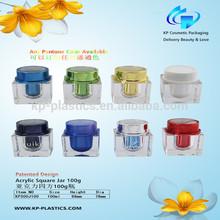 Shangyu Factory 100g Square Acrylic Storage Jar