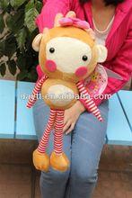 Carrefour supplier plush monkey long arms/soft mini monkey toy/swing monkey toy