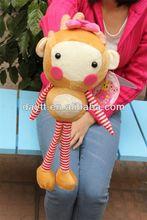 Carrefour supplier sock monkey toy/mini stuffed monkey/mini plush monkey
