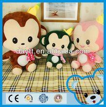 big family plush soft toy monkey/plush toy monkey with banana/plush cute monkey toy