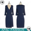 Royal Blue Mature Middle Sleeve Ladies Designers Cotton Dresses