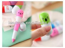 Pill shaped 0.55mm10 colors ballpoint pen wholesale
