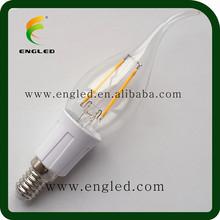warm white led bulb 3w/Ra>80 e12 led candled bulb/360 degree led filament bulb