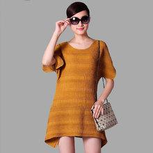 Yellow New Fashion Raglan Sleeve Oneplus One Fat Women Evening Dress 2014