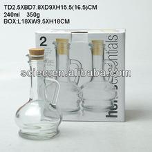 240ml glass oil and vinegar bottle with cork