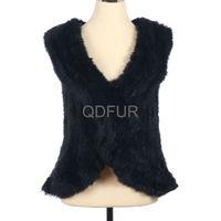 QD30263-2 2014 Textile Simple Lady Dress Rabbit Fur Vests from China