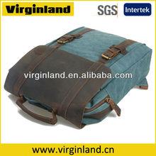 2015 Fashion Vintage Style Canvas Leather Trim Single Strap Laptop Backpack Wholesale