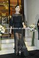 Nouveaux arrivants 2014 sexy noir col haut voir- à travers la dentelle gaine dernière conception formelle à manches longues en dentelle robe de soirée ze-33