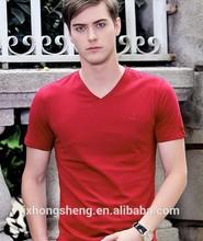 wholesale men's cheap plain/blank t shirt with v neck, spandex/cotton fabric