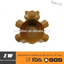 ZW FDA LFGB reusable bear silicone cupcake case