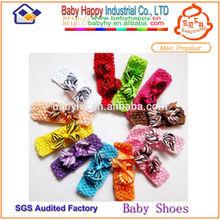 MOQ 100 /mix 4 style Baby crochet headband with satin flowers