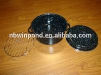 Carbon steel black enamel roasting pan with grill