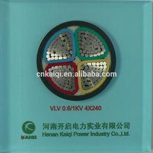 Power cable 0.6/1KV 4core Aluminum conductor PVC insulation PVC sheath