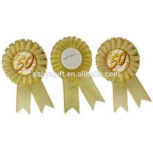 Handwork Golden Style Ribbon Rosette For Anniversary,Luxury Snow Yarn Flower Party Ribbon Rosettes, Manufactory Maker&Supplier