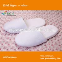 Cheap 100% cotton velvet washable hotel slipper with anti-slip hole,wholesale hotel slipper