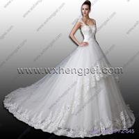 A word shoulder set auger floor length lace wedding dresses