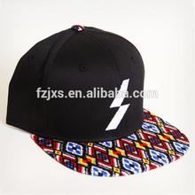Top Quality Custom Print Fabric Flat Brim Snapback Caps