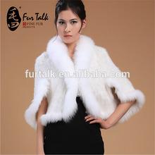 di lusso nobile cappotto di pelliccia di visone lavorato a maglia con pelliccia di volpe colletto tondo