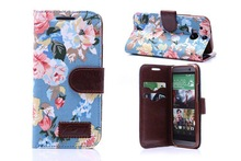 2014 stylish flower print jean cloth puch cover for htc one m8 wallet leather case with tpu inside