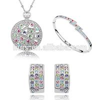 Fashion hot sale full Austria Crystal circle jewelry set