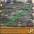 natural black façade mur de pierre de quartz