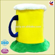 EN71 New design cheap comb plush beer drinking hats,drink beer oktoberfest hat