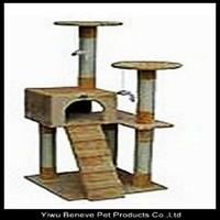 Beige cat tree cat scratcher cat condo house