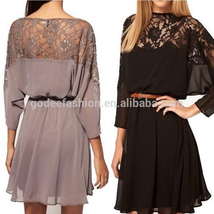 Горячие продажи моды высокого качества Черный женский Винтаж Batwing рукава