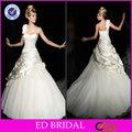 Edw222 lindo plissados Ruffled inferior uma flor Strap vestidos de casamento celta
