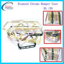 Deluxe Aluminum Diamond Metal bumper Case For iphone 5 5G 5S