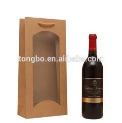 Newest Custom Brown Wine Package Kraft Paper Bag With Clear Window