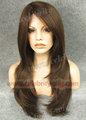 larga de color marrón natural de la piel superior sintética peluca delantera del cordón de angelina jolie estilo