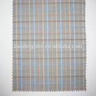 blue yellow brown yarn dyed plaid fabric