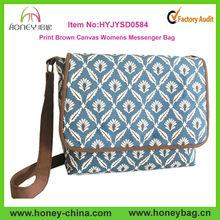 Large Blue Cross body Bag Print Brown Canvas Women Messenger Bag